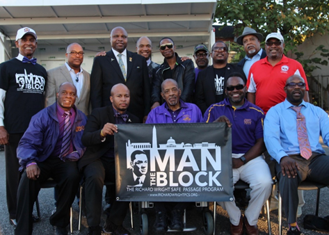 Brothers of the Third and Second Districts, Omega Psi Phi Fraternity, Inc. with Mr. Doug E. Fresh at the 7th Annual Man The Block Party, Richard Wright Public Charter School, Washington, DC.
